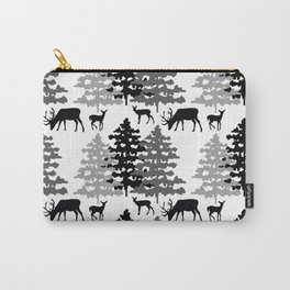 Woodland Rustic Deer Winter Mountain Forest Trees Carry-All Pouch