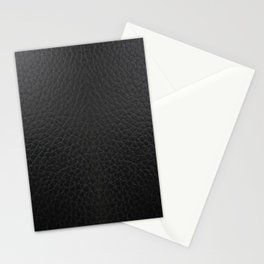 Black faux leather texture Stationery Cards