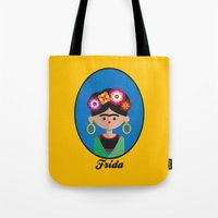 frida Tote Bags featuring Frida by Juliana Motzko