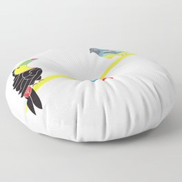 Birds on a seesaw Floor Pillow