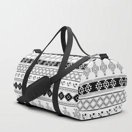 Black & White Primitive Pattern Duffle Bag