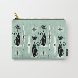 Mid Century Meow Retro Atomic Cats Mint Carry-All Pouch