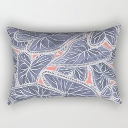 Tropical Caladium Leaves Pattern - Purple Gray Coral Rectangular Pillow