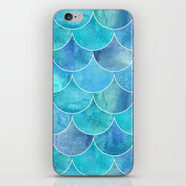 Turquoise Blue Watercolor Mermaid iPhone Skin