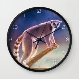 Cute painted Ring-tailed lemur Wall Clock