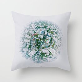 Fish Eye World View (Color) Throw Pillow