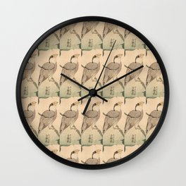 Hokusai,Hawfinch and mirabilis 2 - manga, japan,hokusai,japanese,北斎,ミュージシャン Wall Clock
