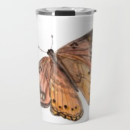 Orange Butterfly Art, Watercolor Butterfly, Nature Painting, Pink Butterfly Travel Mug