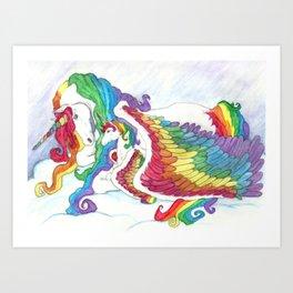 Early Morning Rainbows Pegasus Unicorn Rainbow  Art Print