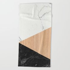 Marble and Wood Abstract Beach Towel