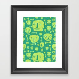 Skulls & Bones I - Green Framed Art Print