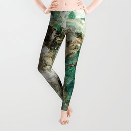 Teal Contemporary and Abstract Painting Leggings