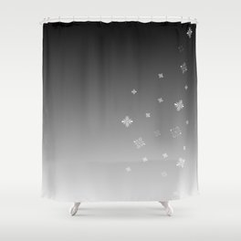 Snow Falling Grey Sky Shower Curtain