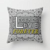 tupac Throw Pillows featuring LEGEND by irokart