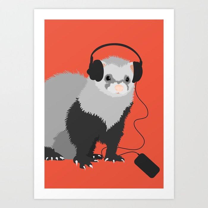 Music Loving Ferret Art Print