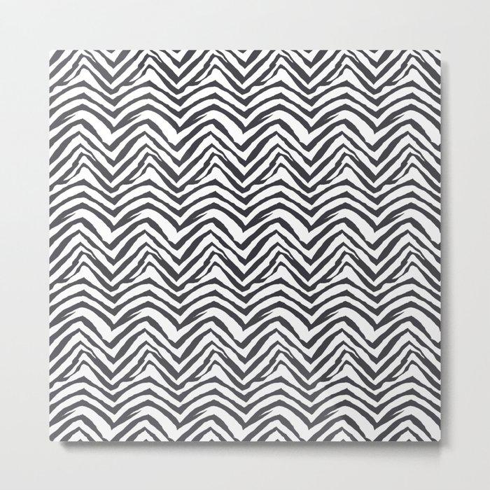 Zebra stripes minimal black and white modern pattern basic home dorm decor nursery Metal Print