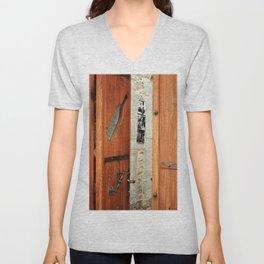 decorated wood door Unisex V-Neck