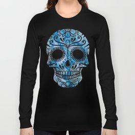 Blue Lace Sugar Skull Long Sleeve T-shirt