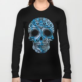 Blue Lace Sugar Skull Long Sleeve T-shirt