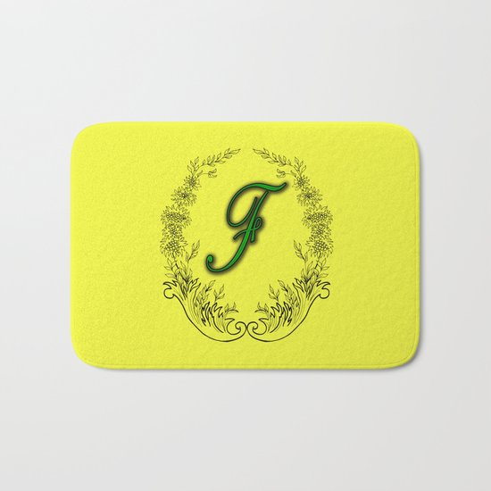 the letter F in a leaves and flowers Bath Mat