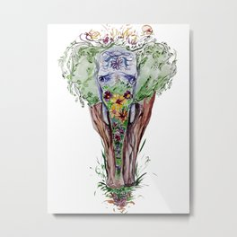 Watercolor elephant and flowers Metal Print