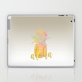 Metallic silver faux gold glitter tropical aloha pastel pineapple Laptop & iPad Skin