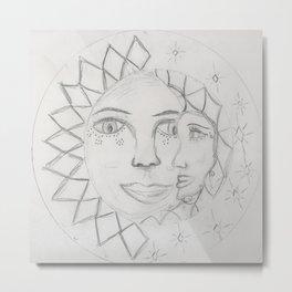 Moon and Sun Metal Print