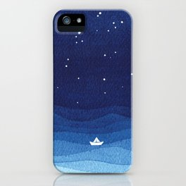 Falling star, shooting star, sailboat ocean waves blue sea iPhone Case
