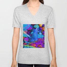 Mermaids purse purple/violet/blue Unisex V-Neck