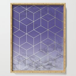 Geometric Marble Ultraviolet Purple Gold Serving Tray