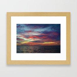Fall sunset above Lake St. Clair, Canada Framed Art Print