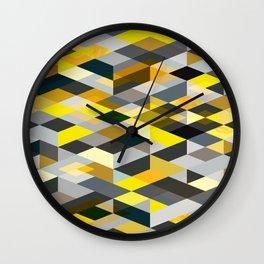 Rhapsody Jewelled Yellow Grey Modern Abstract Geo Wall Clock