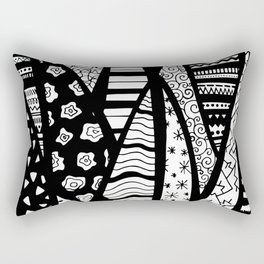 Black and White Line Art - Mixed Pattern Rectangular Pillow