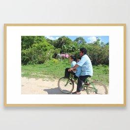 Bike Carpooling Framed Art Print