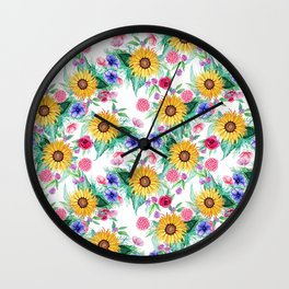 Sunflower, anemone, dahlia, rose and beauty berry watercolor floral Wall Clock
