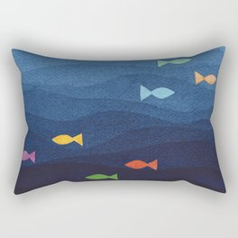 Coloured fish say hooray Rectangular Pillow