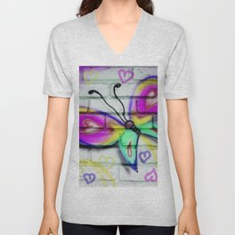 Butterflies and Bricks Unisex V-Neck
