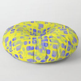 Blue Smudged Shapes On Yellow Floor Pillow