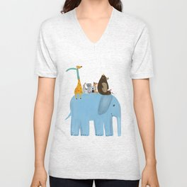 the big blue elephant Unisex V-Neck
