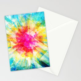 GEOMETRIC TIE DYE (Rainbow, Multi color) Stationery Cards