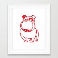 bulldog Framed Art Prints featuring Bulldog by drawgood