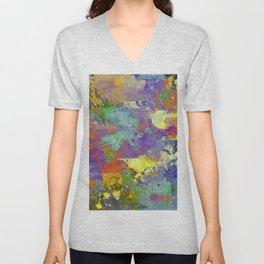 Signs Of Life - Vibrant, random paint splatter multi coloured abstract Unisex V-Neck