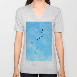 Cormorant flock Fly-over Unisex V-Neck