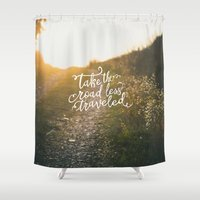 pocketfuel Shower Curtains featuring The Road by Pocket Fuel