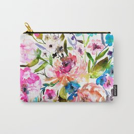 WATERCOLOUR PEONY AND ROSES Carry-All Pouch
