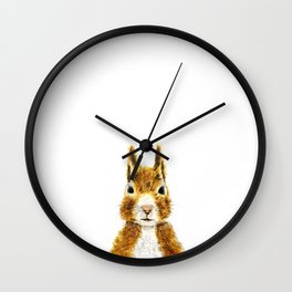 cute little squirrel watercolor Wall Clock