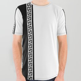 Greek Key 2 - White and Black All Over Graphic Tee