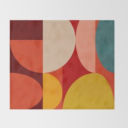 shapes of red mid century art Throw Blanket