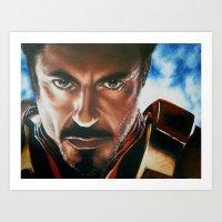 ironman Art Prints featuring Ironman by Lyneth Morgan
