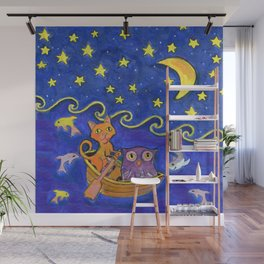 Owl and Pussycat rowed at night Wall Mural